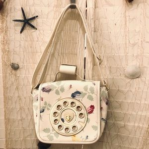 Betsey Johnson phone purse in light floral & white